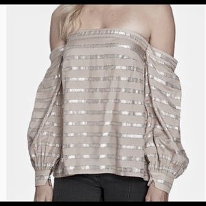 1.State Gray Shimmery Off Shoulders Top